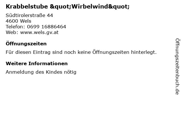 """Krabbelstube """"Wirbelwind"""" in Wels: Adresse und Öffnungszeiten"""