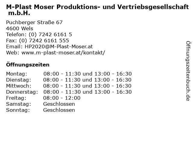 M-Plast Moser Produktions- und Vertriebsgesellschaft m.b.H. in Wels: Adresse und Öffnungszeiten