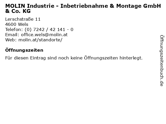 MOLIN Industrie - Inbetriebnahme & Montage GmbH & Co. KG in Wels: Adresse und Öffnungszeiten