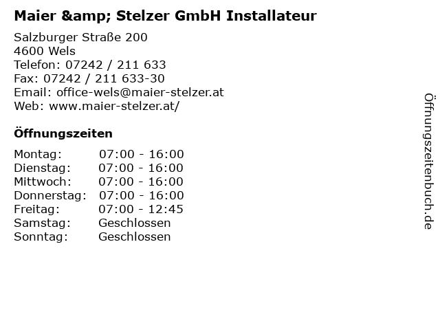 Maier & Stelzer GmbH Installateur in Wels: Adresse und Öffnungszeiten