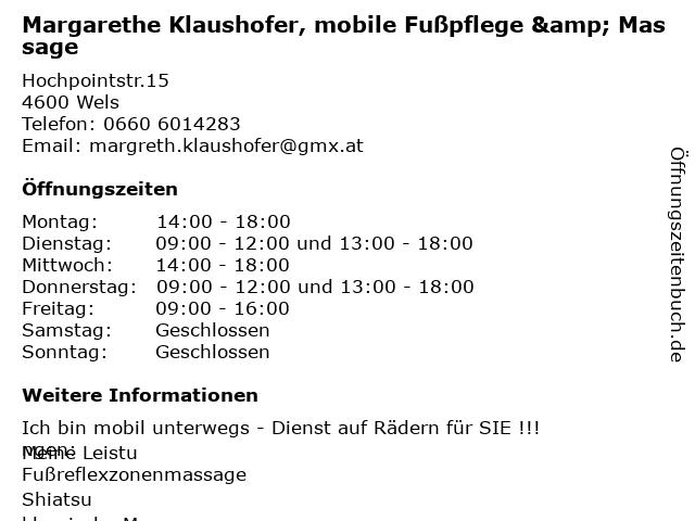 Margarethe Klaushofer, mobile Fußpflege & Massage in Wels: Adresse und Öffnungszeiten