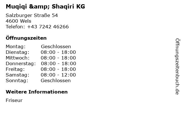 Muqiqi & Shaqiri KG in Wels: Adresse und Öffnungszeiten