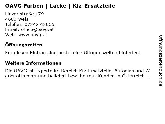 ÖAVG Farben | Lacke | Kfz-Ersatzteile in Wels: Adresse und Öffnungszeiten