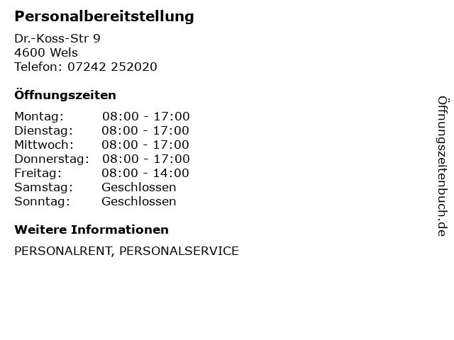 Personalbereitstellung in Wels: Adresse und Öffnungszeiten