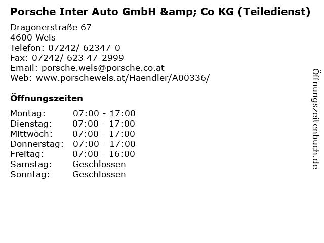 Porsche Inter Auto GmbH & Co KG (Teiledienst) in Wels: Adresse und Öffnungszeiten