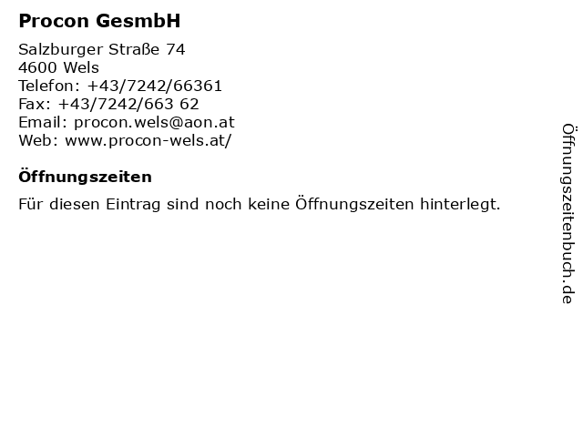 Procon GesmbH in Wels: Adresse und Öffnungszeiten