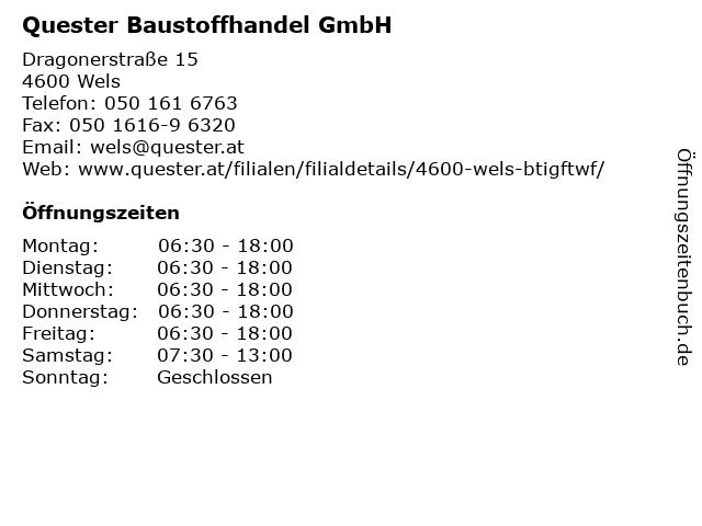 Quester Baustoffhandel GmbH in Wels: Adresse und Öffnungszeiten