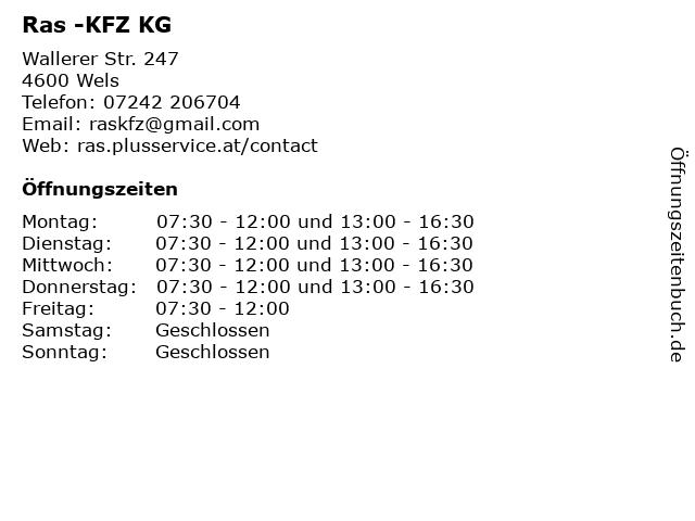 Ras -KFZ KG in Wels: Adresse und Öffnungszeiten