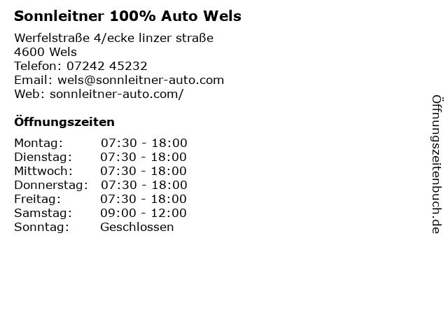 Sonnleitner 100% Auto Wels in Wels: Adresse und Öffnungszeiten