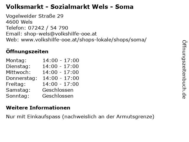 Sozialmarkt Wels - Soma in Wels: Adresse und Öffnungszeiten