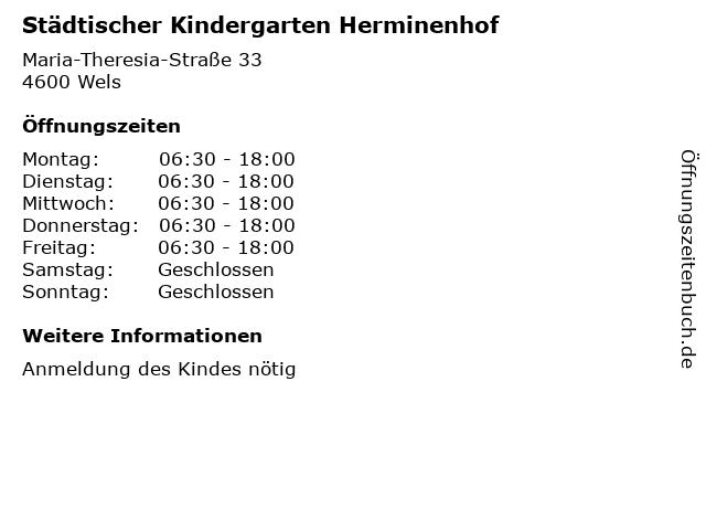 Städtischer Kindergarten Herminenhof in Wels: Adresse und Öffnungszeiten