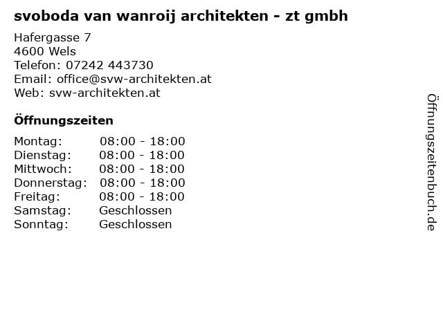 Svoboda van Wanroij Architekten in Wels: Adresse und Öffnungszeiten