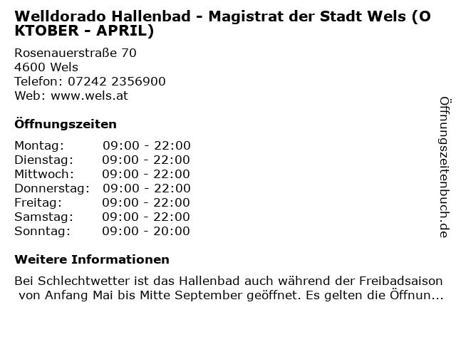Welldorado Hallenbad - Magistrat der Stadt Wels (OKTOBER - APRIL) in Wels: Adresse und Öffnungszeiten