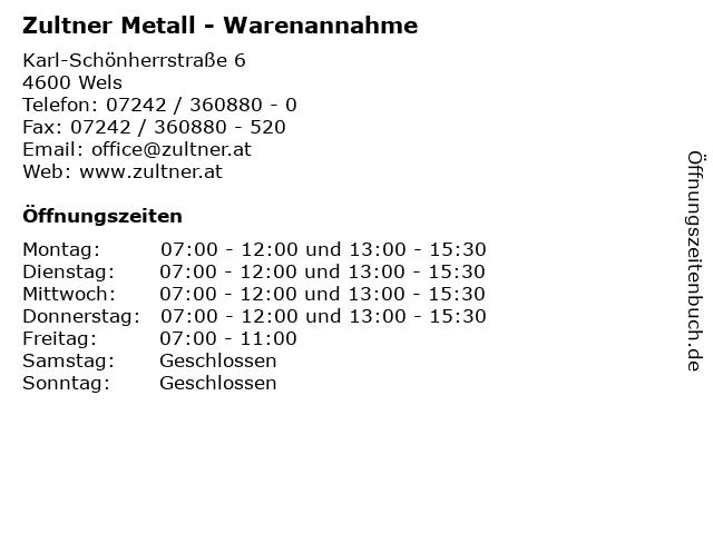 Zultner Metall - Warenannahme in Wels: Adresse und Öffnungszeiten