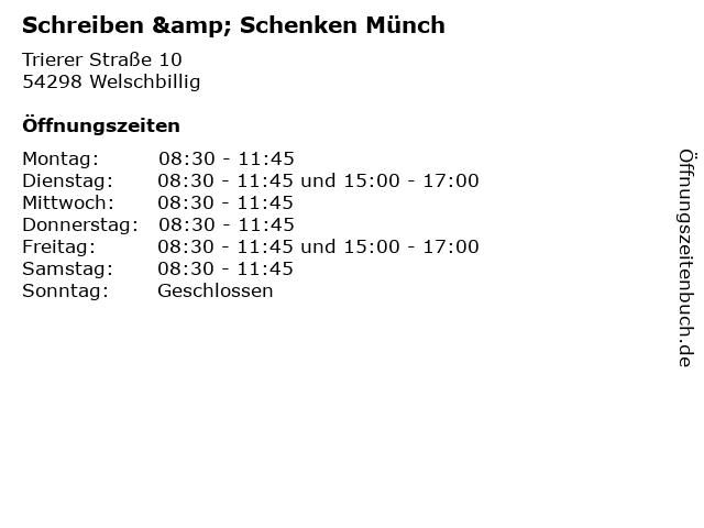 Schreiben & Schenken Münch in Welschbillig: Adresse und Öffnungszeiten
