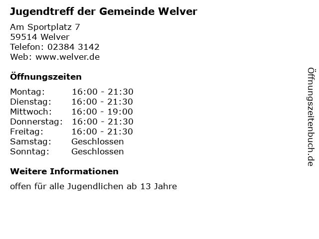 Jugendtreff der Gemeinde Welver in Welver: Adresse und Öffnungszeiten