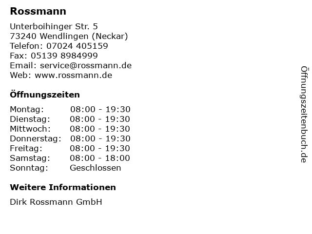 Rossmann in Wendlingen (Neckar): Adresse und Öffnungszeiten