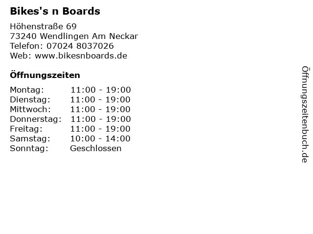 Bikes's n Boards in Wendlingen Am Neckar: Adresse und Öffnungszeiten