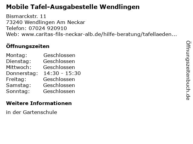 Mobile Tafel-Ausgabestelle Wendlingen in Wendlingen Am Neckar: Adresse und Öffnungszeiten