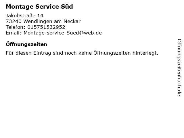 Montage Service Süd in Wendlingen am Neckar: Adresse und Öffnungszeiten