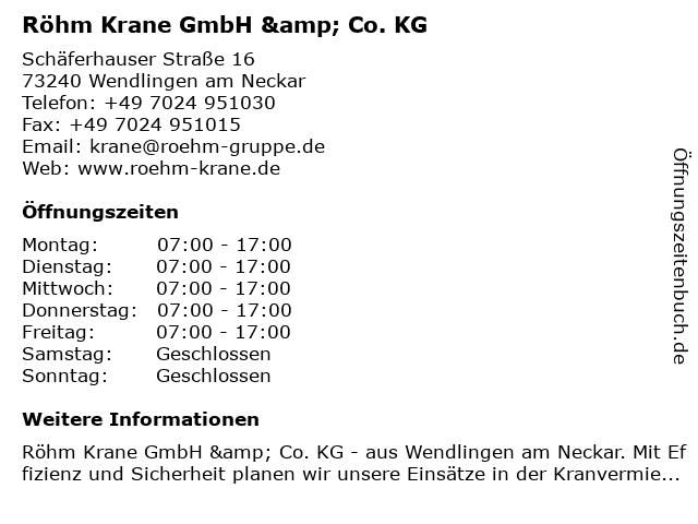 Röhm Krane GmbH & Co. KG in Wendlingen am Neckar: Adresse und Öffnungszeiten