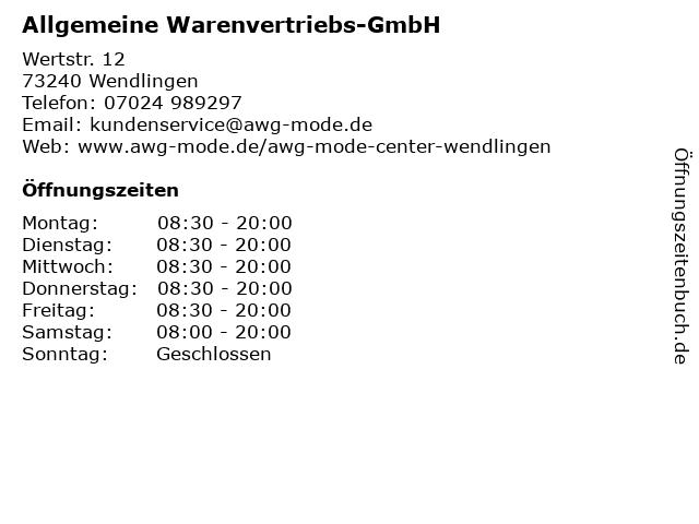 Allgemeine Warenvertriebs-GmbH in Wendlingen: Adresse und Öffnungszeiten