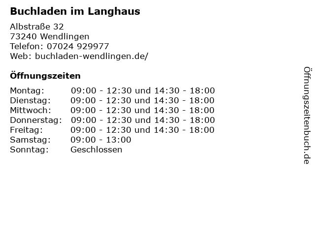 Buchladen im Langhaus in Wendlingen: Adresse und Öffnungszeiten