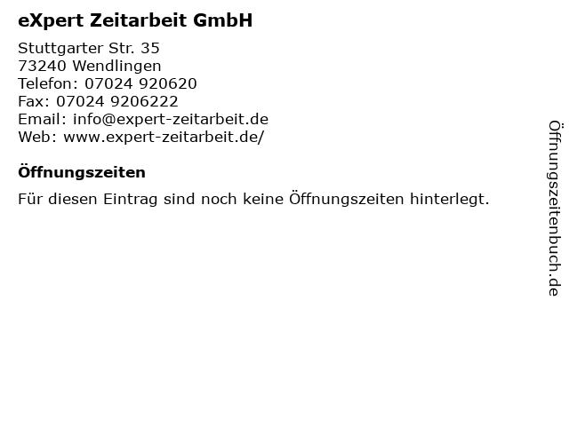 eXpert Zeitarbeit GmbH in Wendlingen: Adresse und Öffnungszeiten