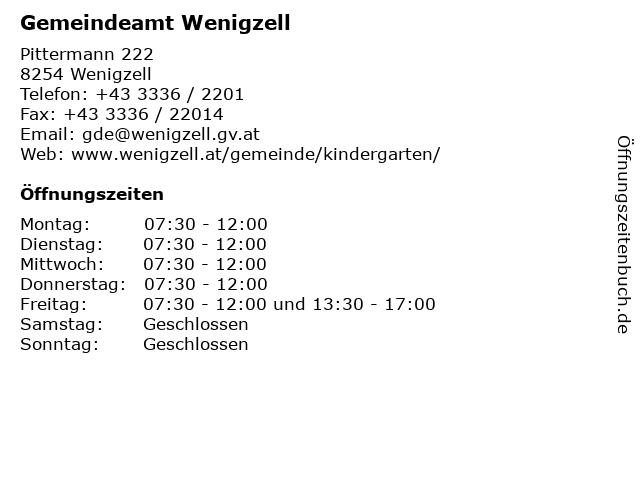 Gemeindeamt Wenigzell in Wenigzell: Adresse und Öffnungszeiten