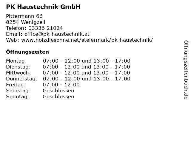 PK Haustechnik GmbH in Wenigzell: Adresse und Öffnungszeiten