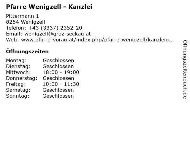 Pfarre Wenigzell - Kanzlei in Wenigzell: Adresse und Öffnungszeiten