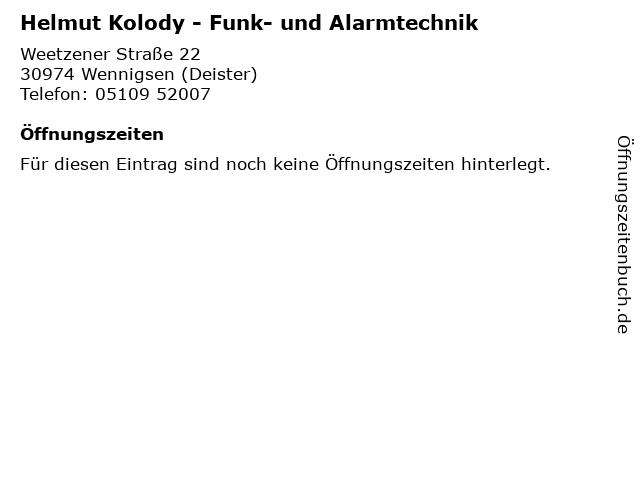 Helmut Kolody - Funk- und Alarmtechnik in Wennigsen (Deister): Adresse und Öffnungszeiten
