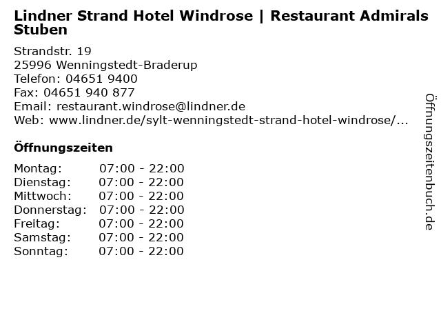 Lindner Strand Hotel Windrose | Restaurant Admirals Stuben in Wenningstedt-Braderup: Adresse und Öffnungszeiten