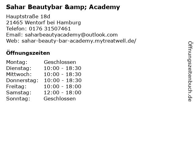 Sahar Beautybar & Academy in Wentorf bei Hamburg: Adresse und Öffnungszeiten