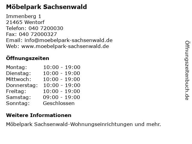 ᐅ öffnungszeiten Möbelpark Sachsenwald Immenberg 1 In Wentorf