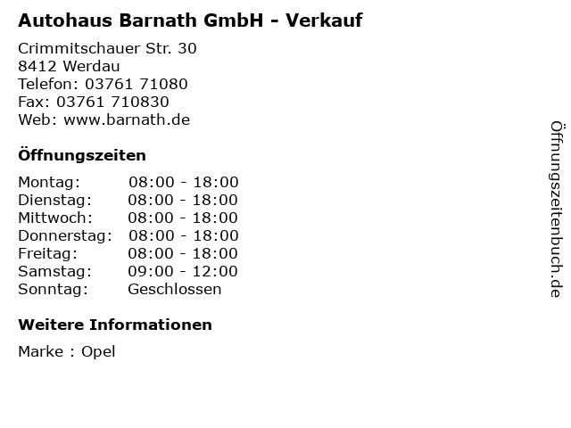 Autohaus Barnath GmbH - Verkauf in Werdau: Adresse und Öffnungszeiten