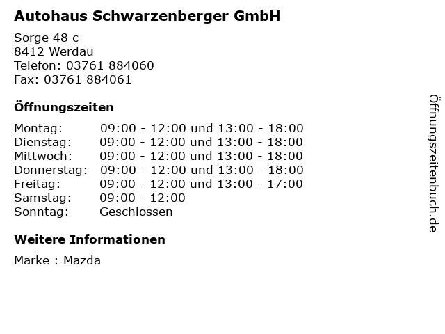 Autohaus Schwarzenberger GmbH in Werdau: Adresse und Öffnungszeiten
