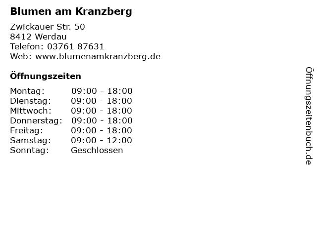 Blumen am Kranzberg in Werdau: Adresse und Öffnungszeiten