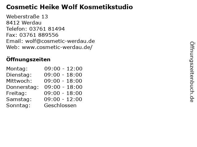 Cosmetic Heike Wolf Kosmetikstudio in Werdau: Adresse und Öffnungszeiten