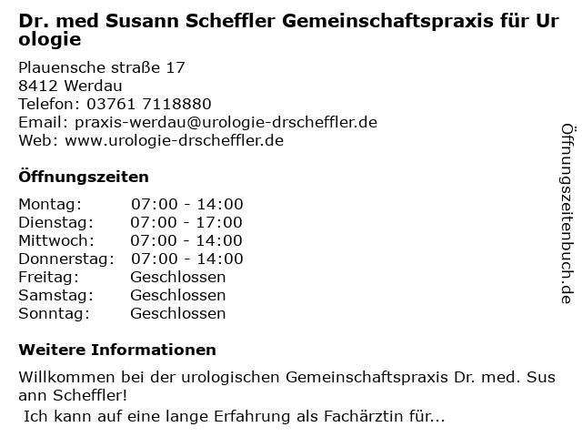 Dr. med Susann Scheffler Gemeinschaftspraxis für Urologie in Werdau: Adresse und Öffnungszeiten