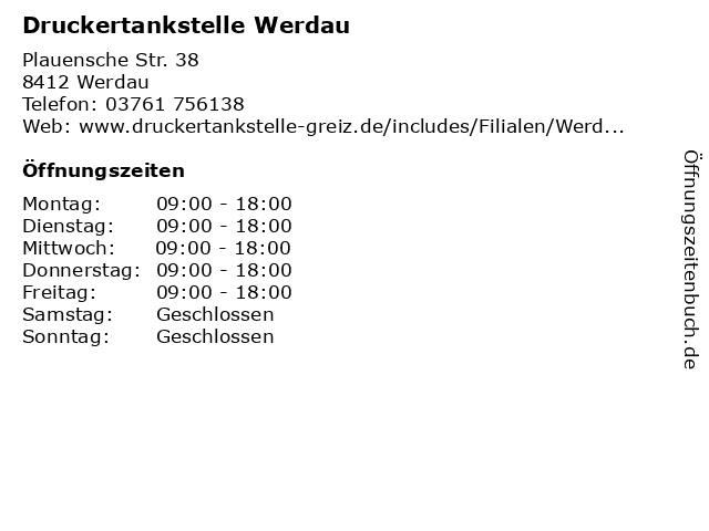 Druckertankstelle Werdau in Werdau: Adresse und Öffnungszeiten