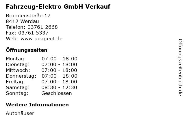 Fahrzeug-Elektro GmbH Verkauf in Werdau: Adresse und Öffnungszeiten