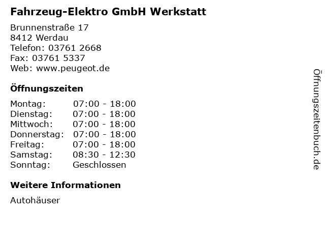 Fahrzeug-Elektro GmbH Werkstatt in Werdau: Adresse und Öffnungszeiten