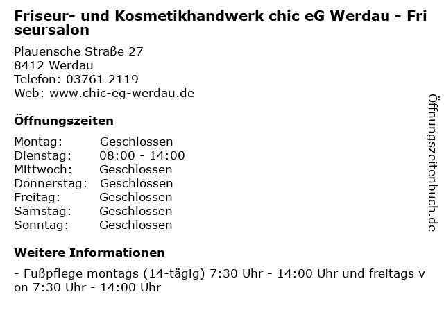 Friseur- und Kosmetikhandwerk chic eG Werdau - Friseursalon in Werdau: Adresse und Öffnungszeiten