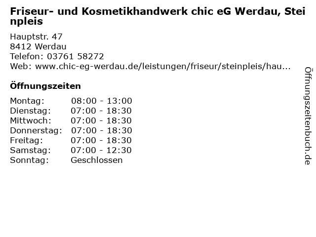Friseur- und Kosmetikhandwerk chic eG Werdau, Steinpleis in Werdau: Adresse und Öffnungszeiten