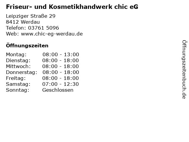 Friseur- und Kosmetikhandwerk chic eG in Werdau: Adresse und Öffnungszeiten