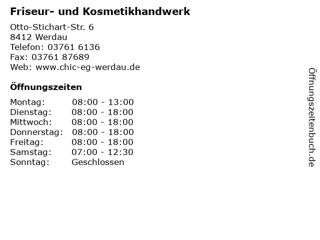 Friseur- und Kosmetikhandwerk in Werdau: Adresse und Öffnungszeiten