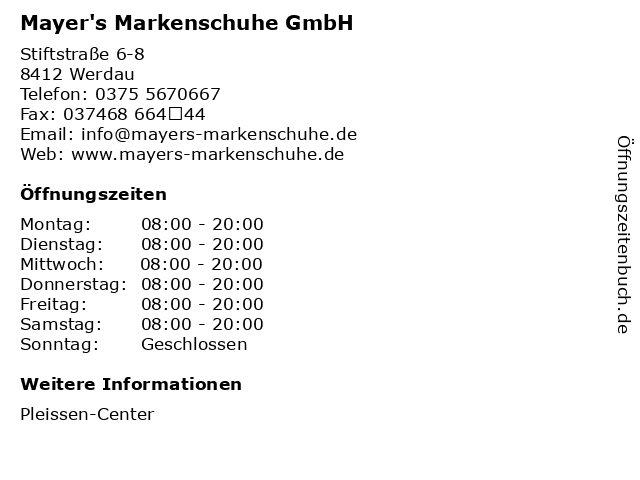 Mayer's Markenschuhe GmbH in Werdau: Adresse und Öffnungszeiten