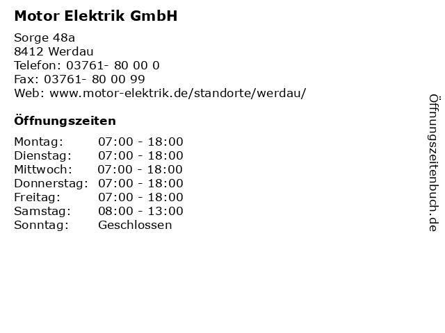 Motor Elektrik GmbH in Werdau: Adresse und Öffnungszeiten