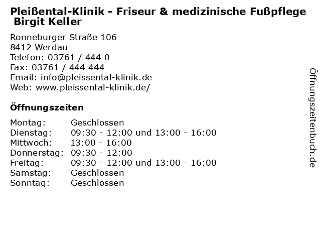 Pleißental-Klinik - Friseur & medizinische Fußpflege Birgit Keller in Werdau: Adresse und Öffnungszeiten